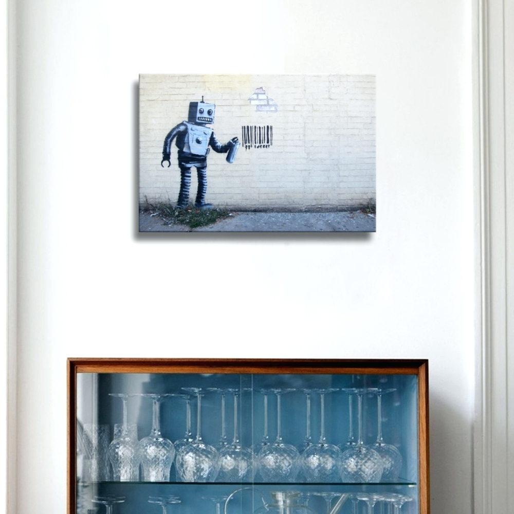 Robot Canvas Wall Art Intended For Well Liked Wall Arts ~ Robot Canvas Wall Art Robot Wall Art Banksy Robot Code (View 10 of 15)