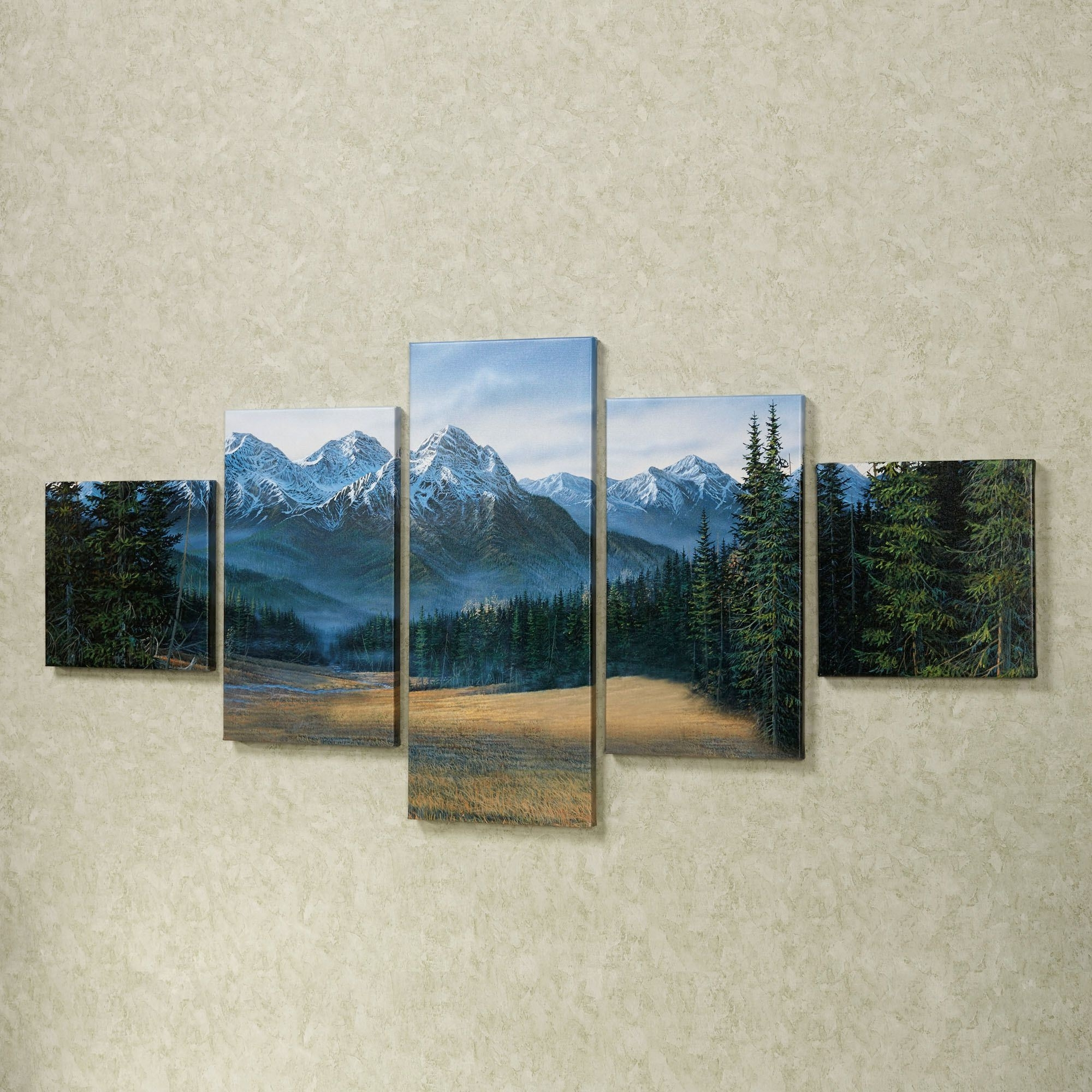Rocky Mountain 5 Pc Canvas Wall Art Set With Most Recent Mountains Canvas Wall Art (Gallery 1 of 15)