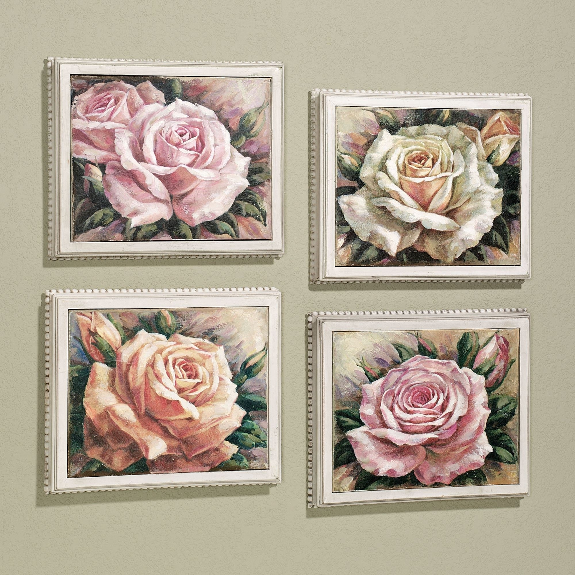 Roses Canvas Wall Art Regarding Most Recently Released Blooming Roses Framed Canvas Wall Art Set (View 9 of 15)