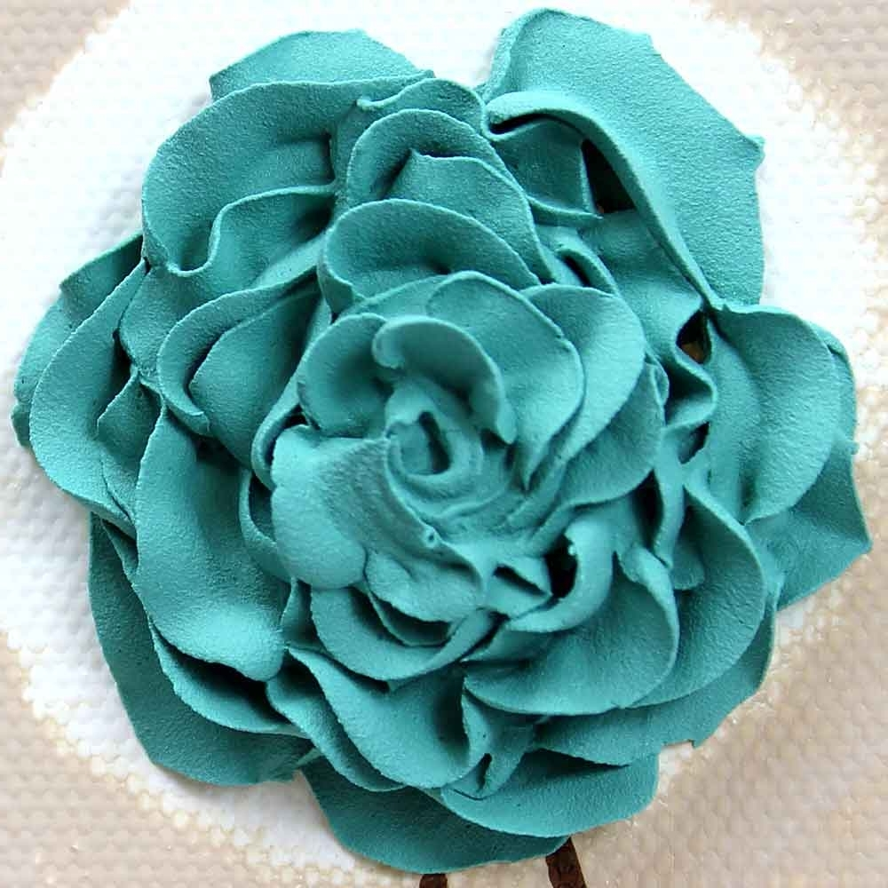 Roses Canvas Wall Art Within Best And Newest Rose Canvas Wall Art Textured Painting Teal And Khaki – Small (View 14 of 15)