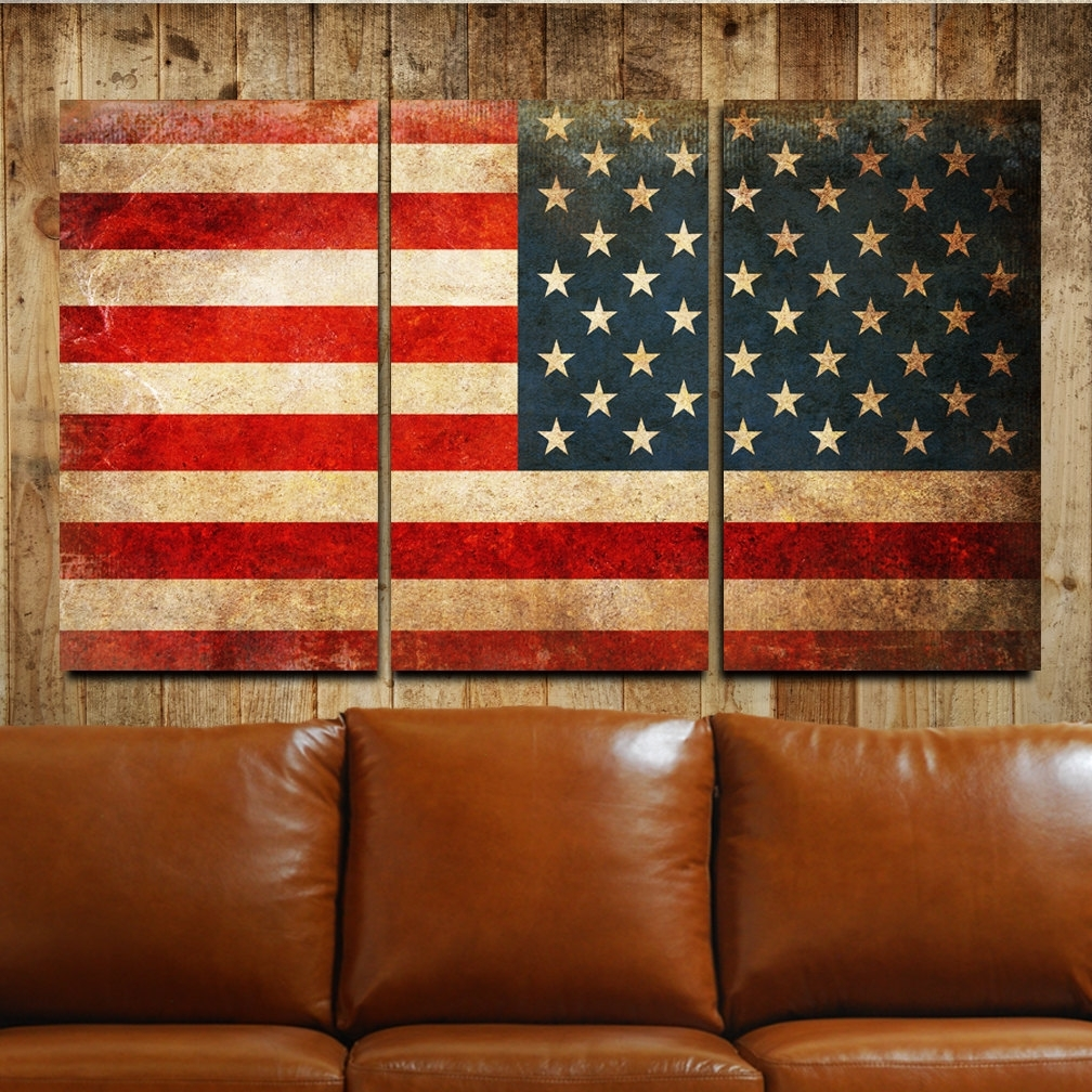 Rustic Canvas Wall Art With Most Recently Released American Flag Rustic Canvas Gallery Wrapped Wall Art Triptych (View 11 of 15)