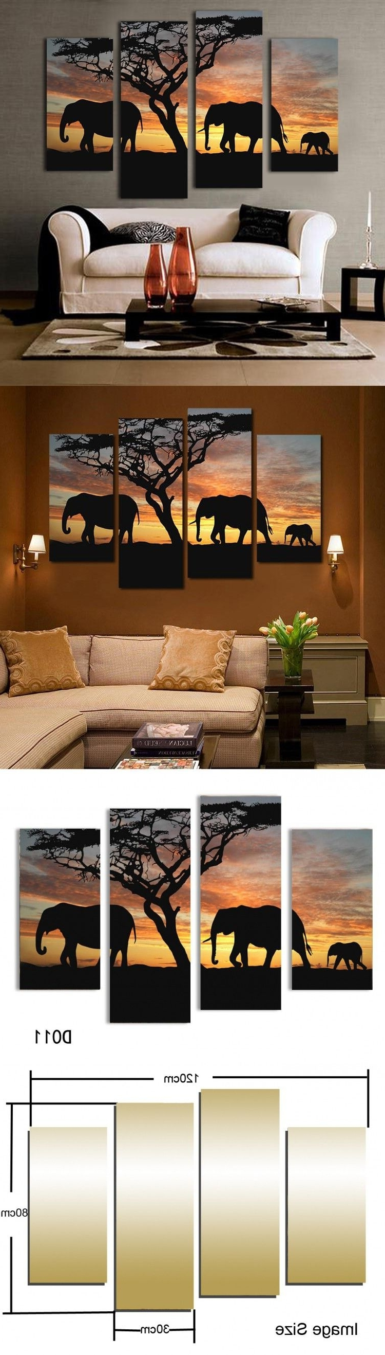 Safari Canvas Wall Art Inside Well Known 5 Ppcs Sunset Elephant Painting Canvas Wall Art Picture Home (View 8 of 15)