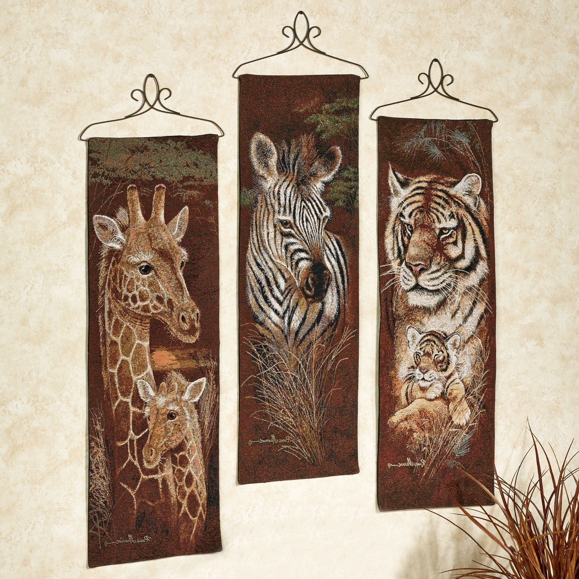 Safari Canvas Wall Art Throughout 2018 Safari Animal Wall Tapestry Panel Set (Gallery 9 of 15)