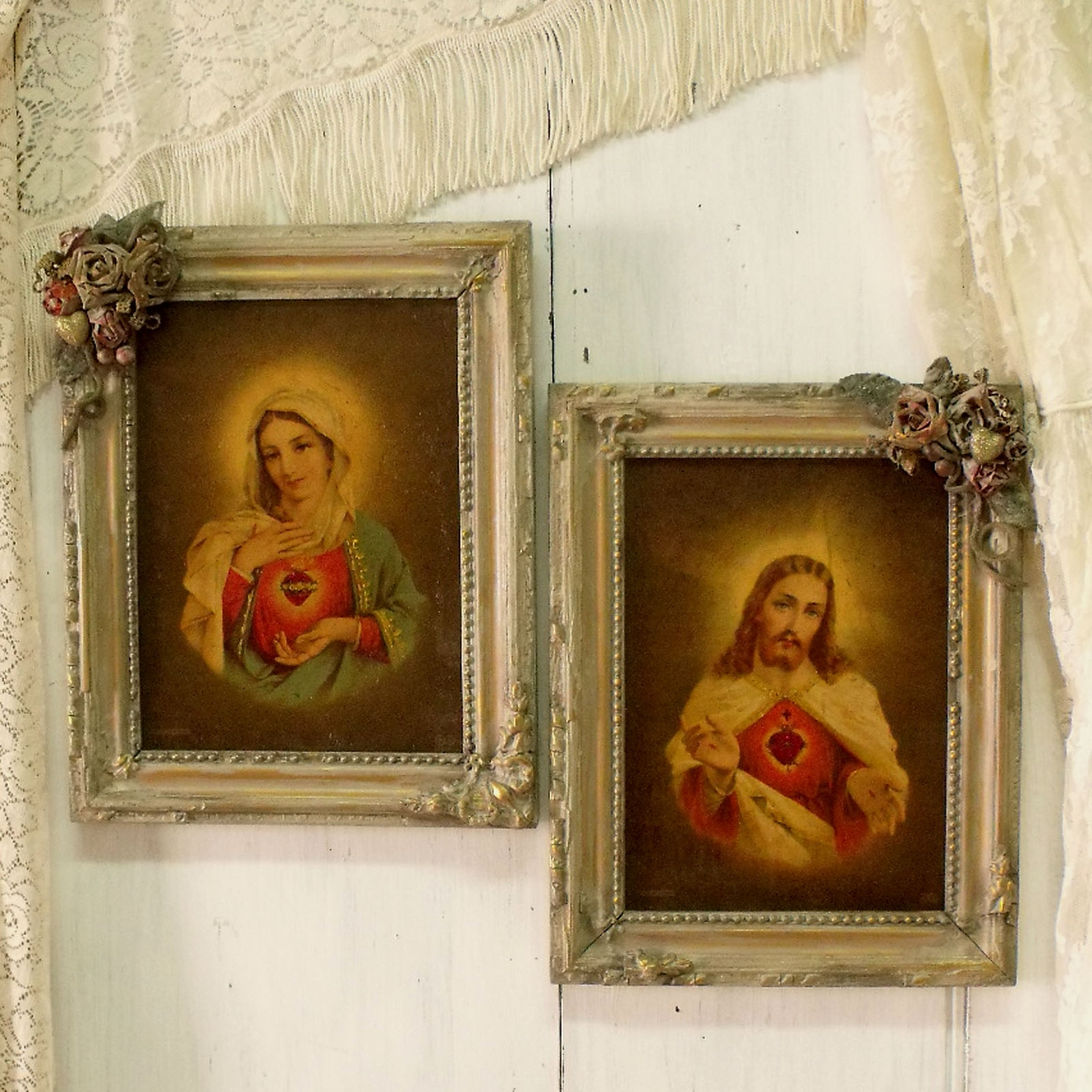 Shabby Chic Framed Art Prints Pertaining To Latest Vintage Jesus Virgin Mary Textured Prints Framed Pair (View 14 of 15)