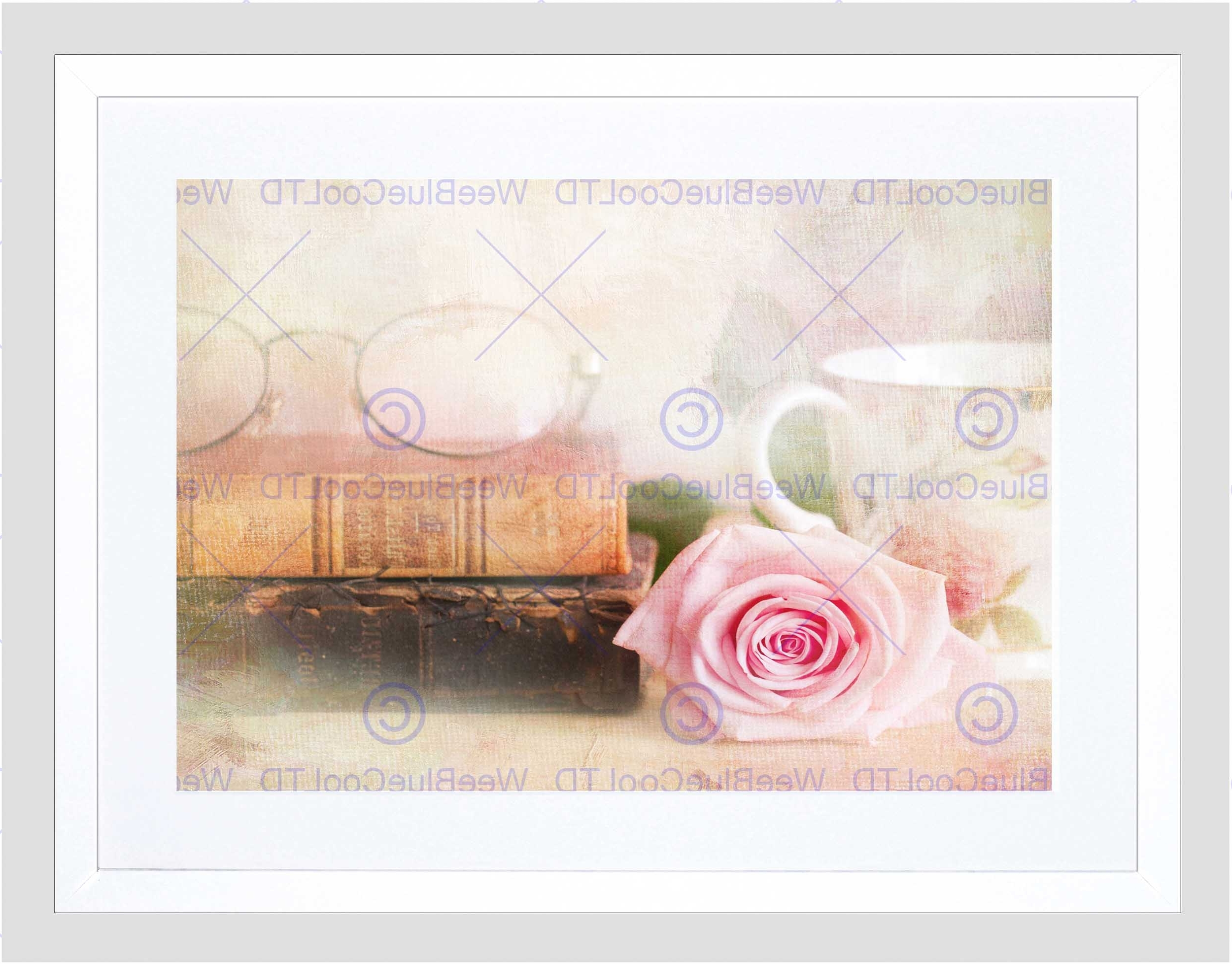 Shabby Chic Framed Art Prints With Favorite Rose Vintage Book Shabby Chic Black Frame Framed Art Print Picture (View 7 of 15)