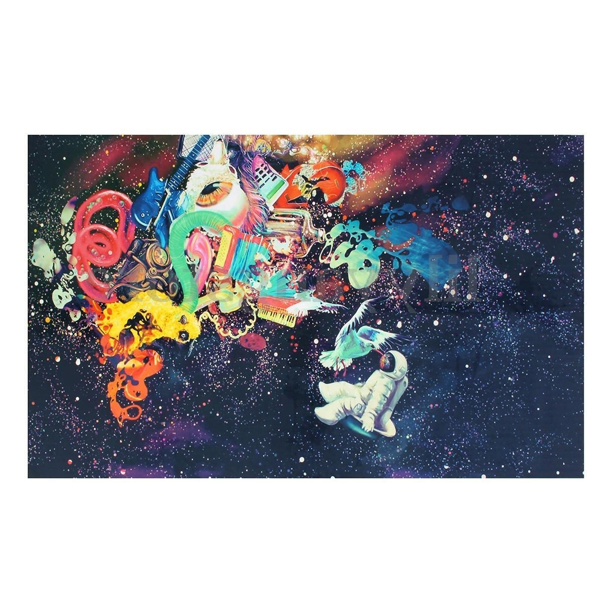 Silk Fabric Wall Art Intended For Most Popular Psychedelic Trippy Art Silk Fabric Poster Modern Space Wall Decor (View 14 of 15)