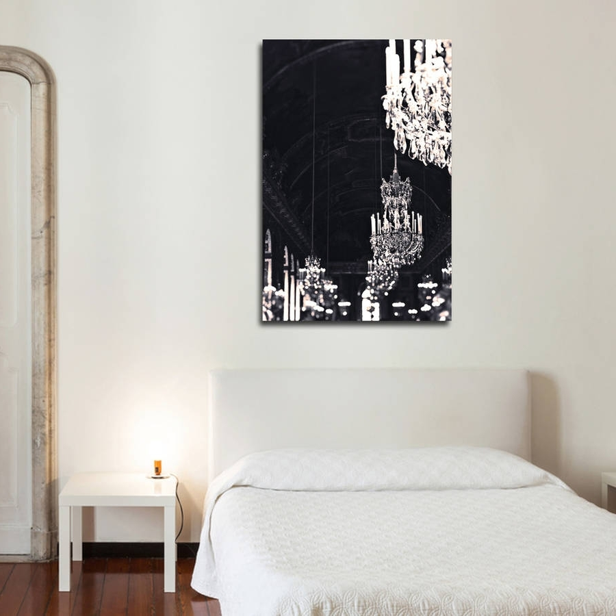 Simple Bedroom Style Ideas With Original Paris Black Gold Throughout Newest Chandelier Canvas Wall Art (View 8 of 15)