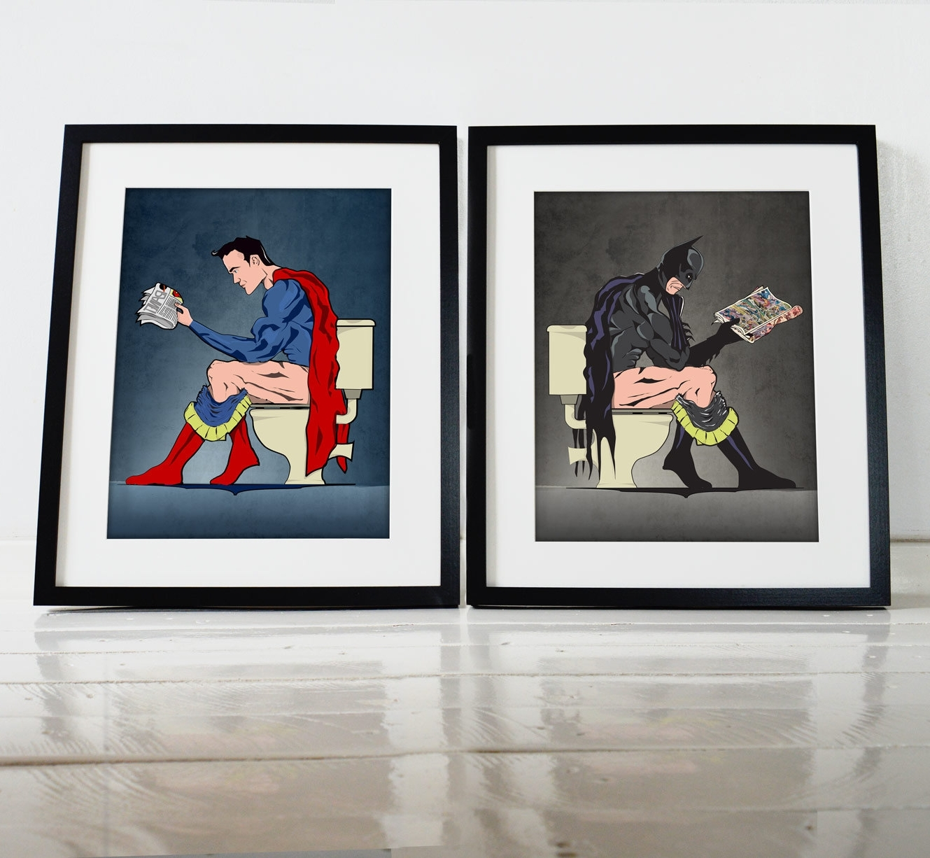 Skillful Wall Art Posters With Batman And Superhero On The Toilet Inside Trendy Framed Comic Art Prints (Gallery 4 of 15)