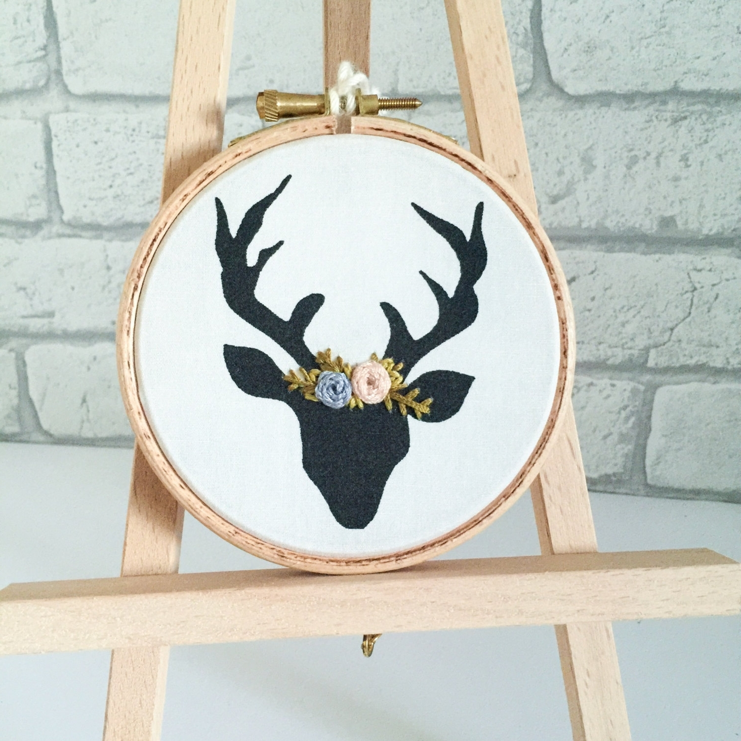 Stag Head, Hand Embroidery, Deer Head, Wall Hanging, Embroidery With 2017 Embroidery Hoop Fabric Wall Art (View 12 of 15)