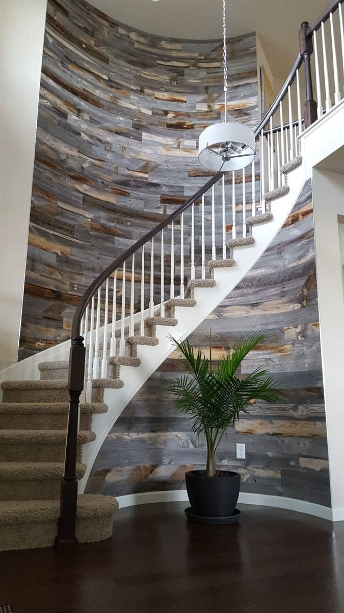 Staircase Wall Accents In Best And Newest Stikwooddesign Reclaimed Weathered Wood Staircase Wall Accent (Gallery 11 of 15)