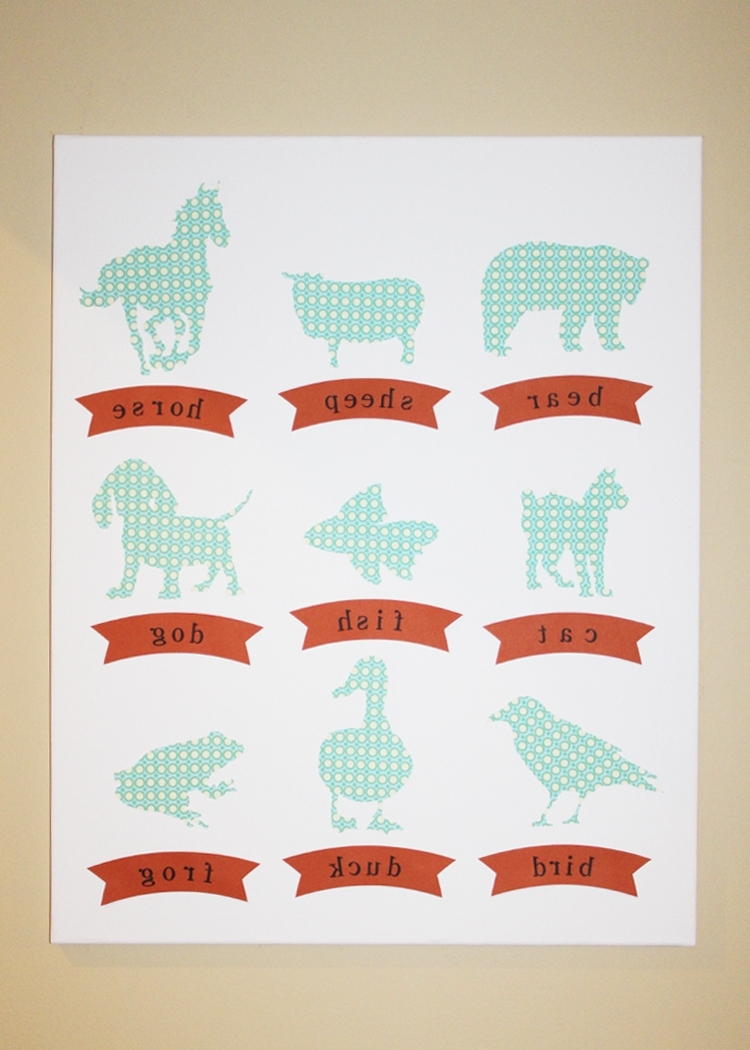 Stamp Camp: Nursery Wall Art – Animal Silhouettes Regarding Well Known Fabric Animal Silhouette Wall Art (Gallery 2 of 15)