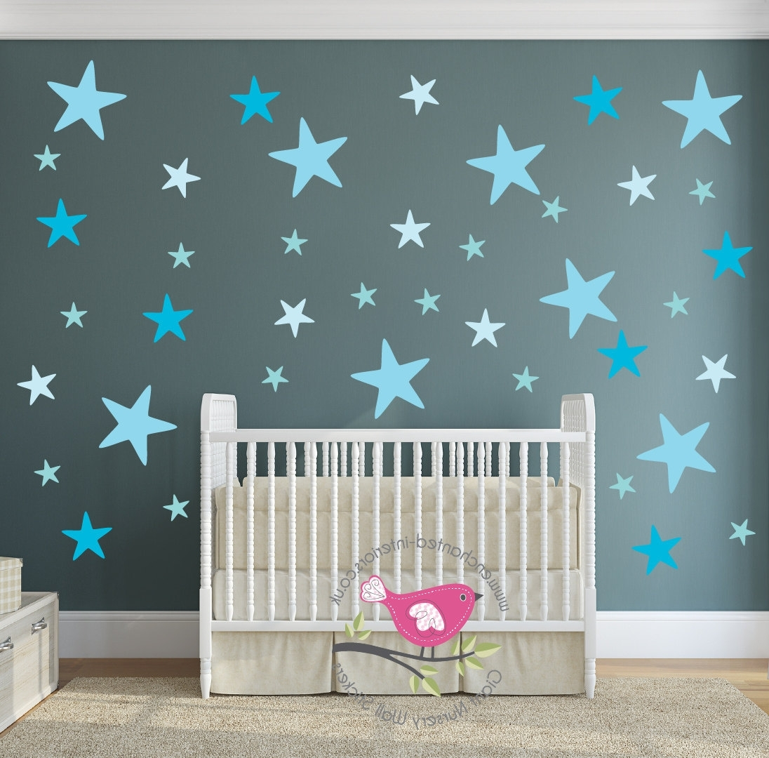 Star Decals, Aqua Blue Nursery Room, Baby Wall Stickers, Geometric With Regard To Most Up To Date Nursery Decor Fabric Wall Art (Gallery 7 of 15)