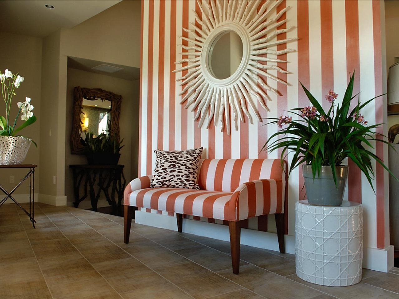 Striped Foyer Theme With Sunburst Wall Mirror Decor (View 12 of 15)
