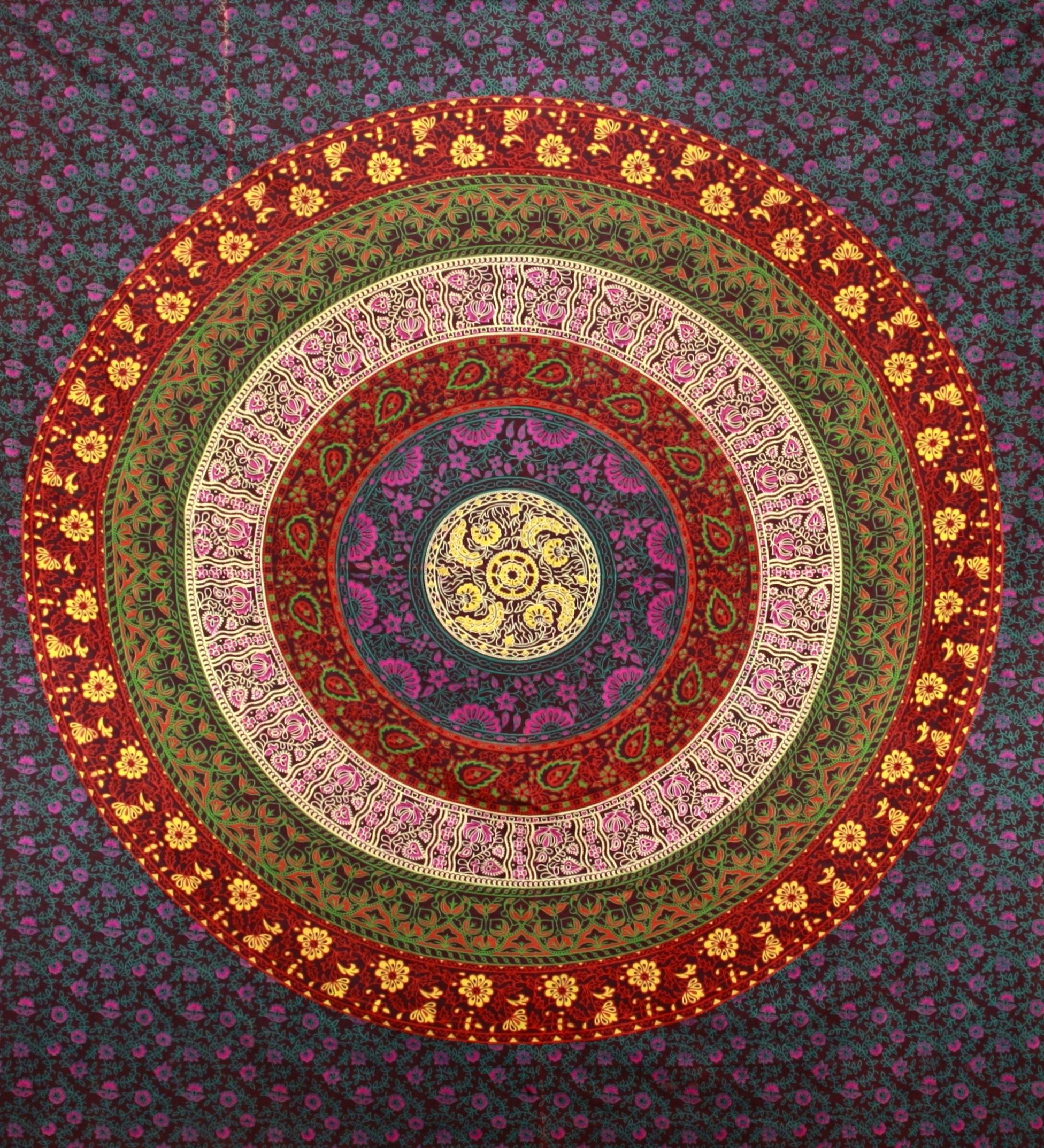 Sunshine Joy Circle Of Flowers Barhmeri Indian Tapestry – Beach Inside Most Up To Date Indian Fabric Art Wall Hangings (Gallery 8 of 15)