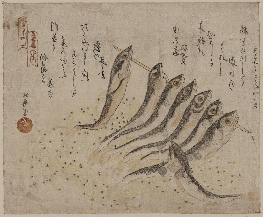 Teisai Hokuba(蹄斎北馬 Japanese, 1771 1844) Sardines メザシと For Latest Framed Asian Art Prints (View 11 of 15)