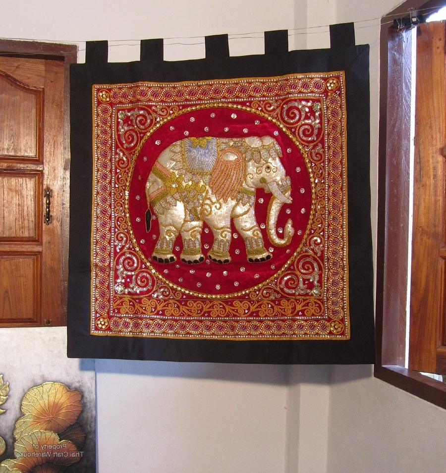 Thai Craft Warehouse – Large Elephant Wall Hanging Handmade Throughout Most Up To Date Handmade Textile Wall Art (Gallery 10 of 15)