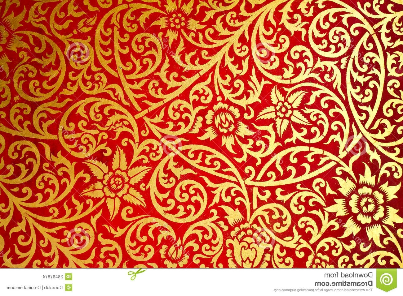 Thai Fabric Wall Art For Widely Used Thai Art Pattern Old Style The Wall In The Temple Stock Photo (View 12 of 15)