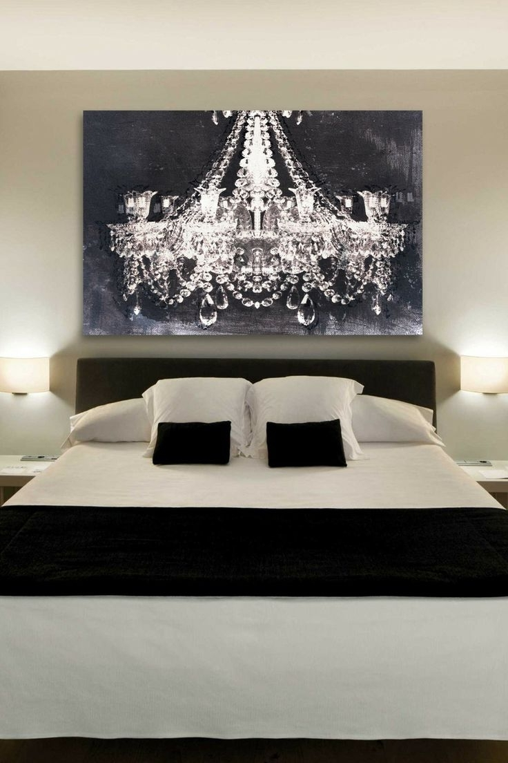 The Chandelier Art Gives Such A Romantic Touch To This Bedroom For Famous Chandelier Canvas Wall Art (View 10 of 15)