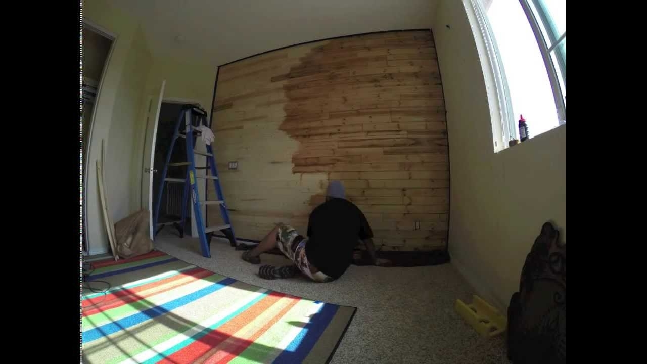 Time Lapse Video Of Me Staining My Son's Wood Paneled Accent Wall With 2018 Wood Paneling Wall Accents (View 9 of 15)