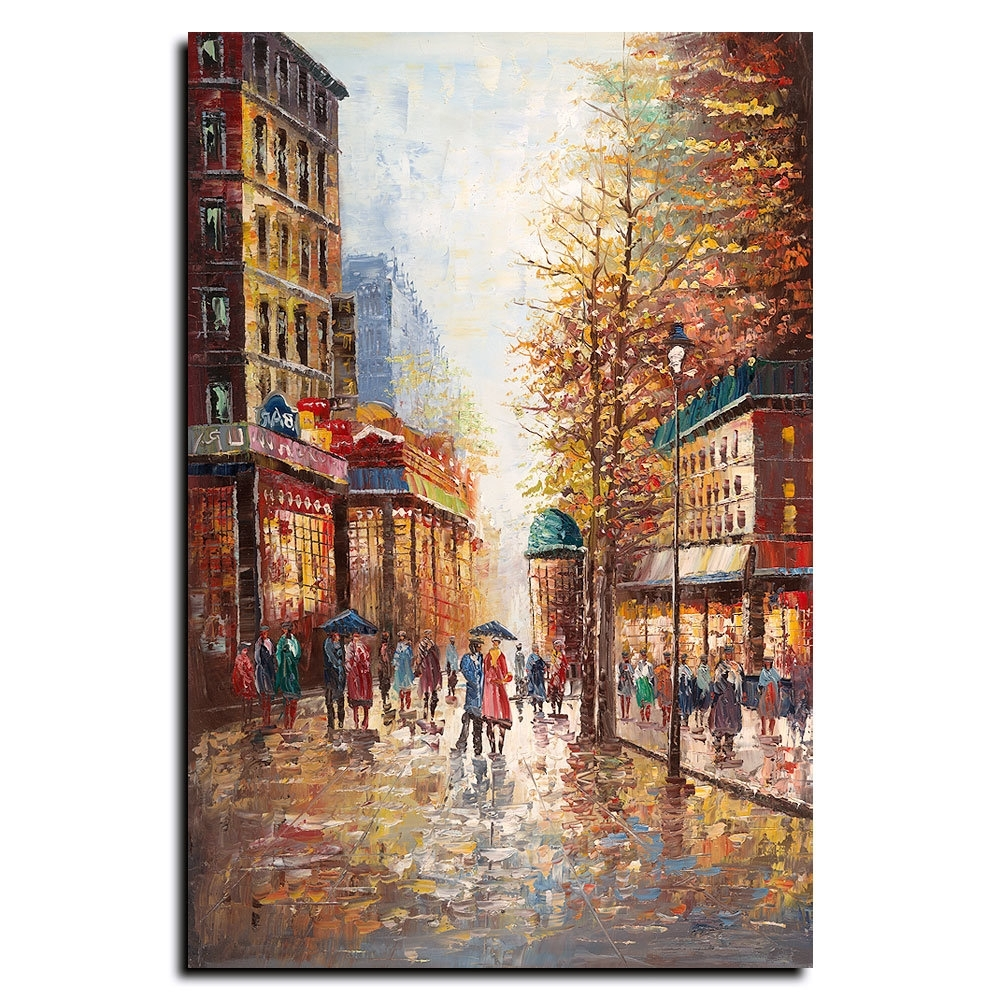 Trademark Art 'french Street Scene I'joval Painting Print On Intended For Favorite Joval Canvas Wall Art (View 11 of 15)