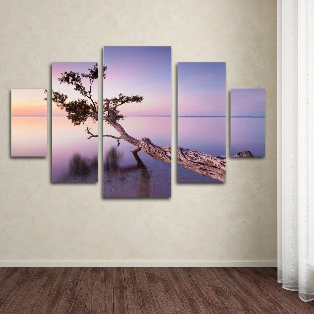Trademark Fine Art Water Tree Xvmoises Levy 5 Panel Wall Art Inside Most Up To Date Next Canvas Wall Art (View 10 of 15)