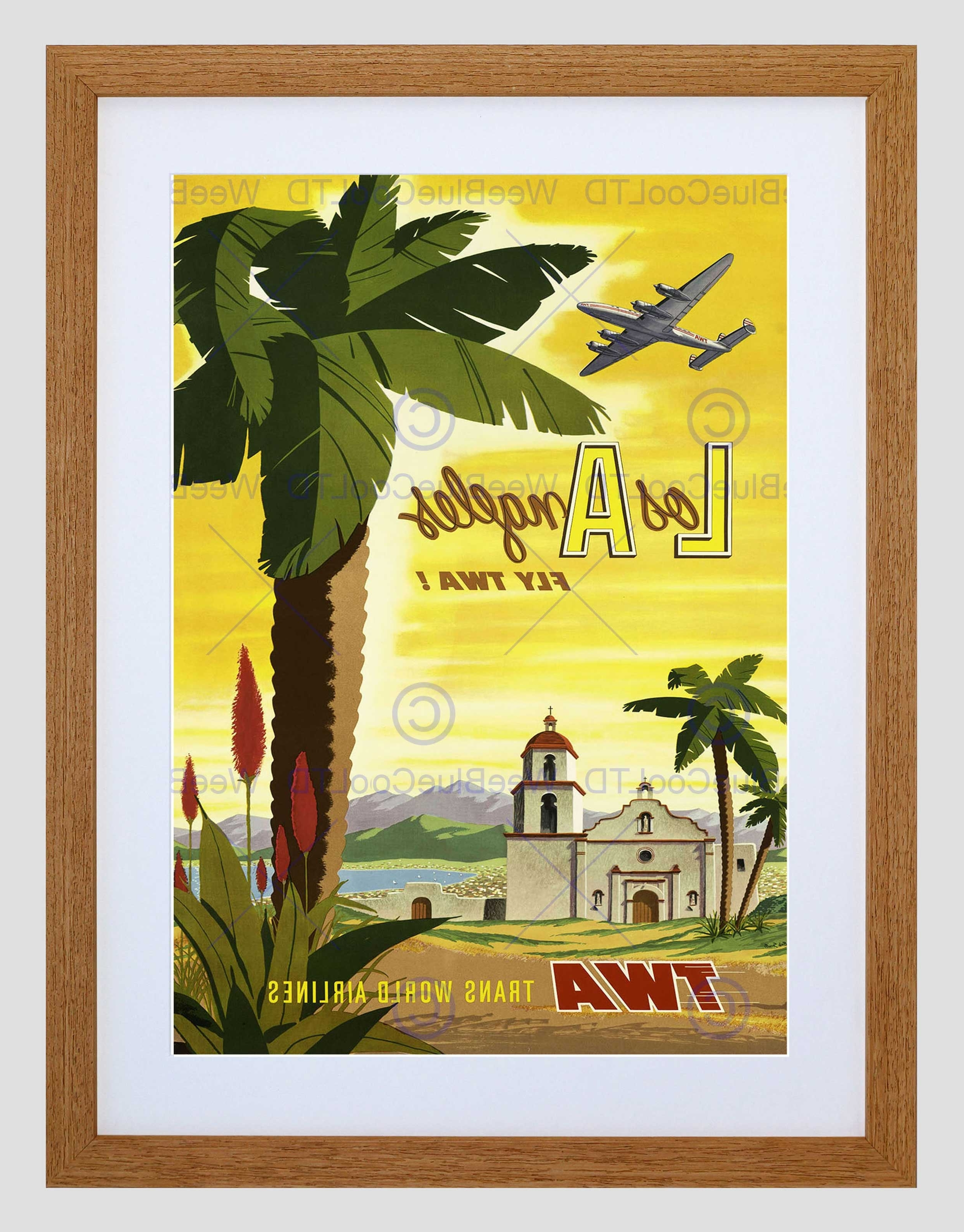 Travel Twa Airline Los Angeles California Palm Vintage Framed Art With Regard To 2017 Los Angeles Framed Art Prints (View 9 of 15)