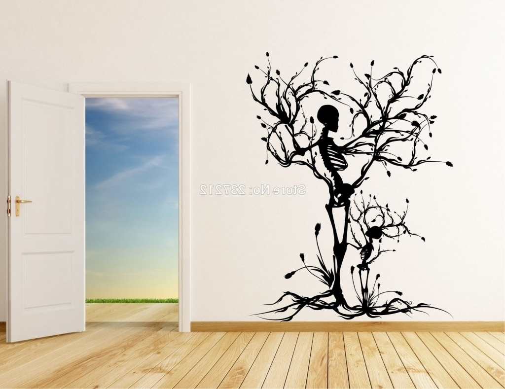 Tree Vinyl Wall Art Stickers Decals Skull Tree Halloween Wall In Throughout Most Up To Date Vinyl Stickers Wall Accents (Gallery 4 of 15)