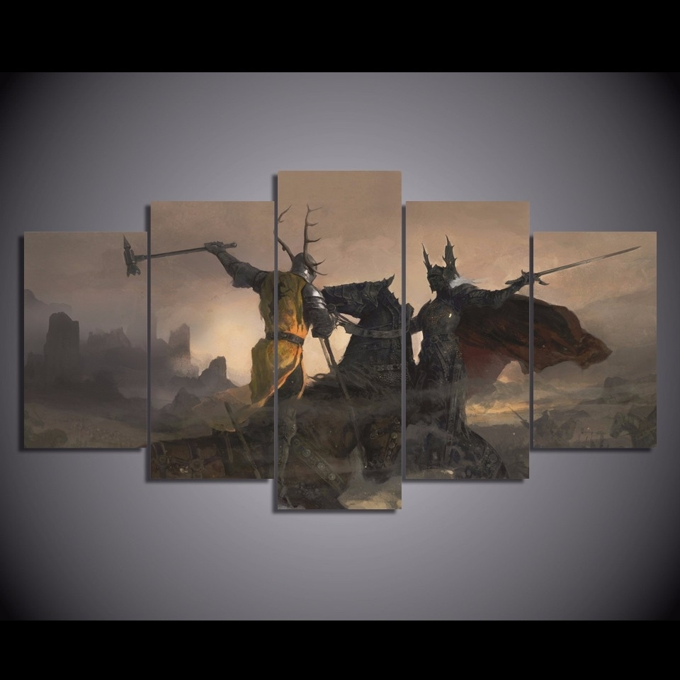 Trendy 5 Panels Canvas Prints Game Of Thrones Wall Art Home Decor 5 Piece In Gaming Canvas Wall Art (View 12 of 15)