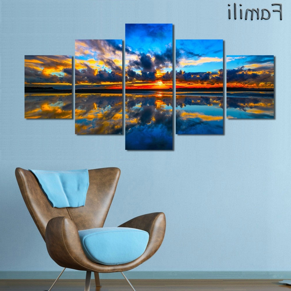 Trendy 5Pcs/set Wall Art Painting New Zealand Blue Water Lake Mountain Regarding New Zealand Canvas Wall Art (View 10 of 15)