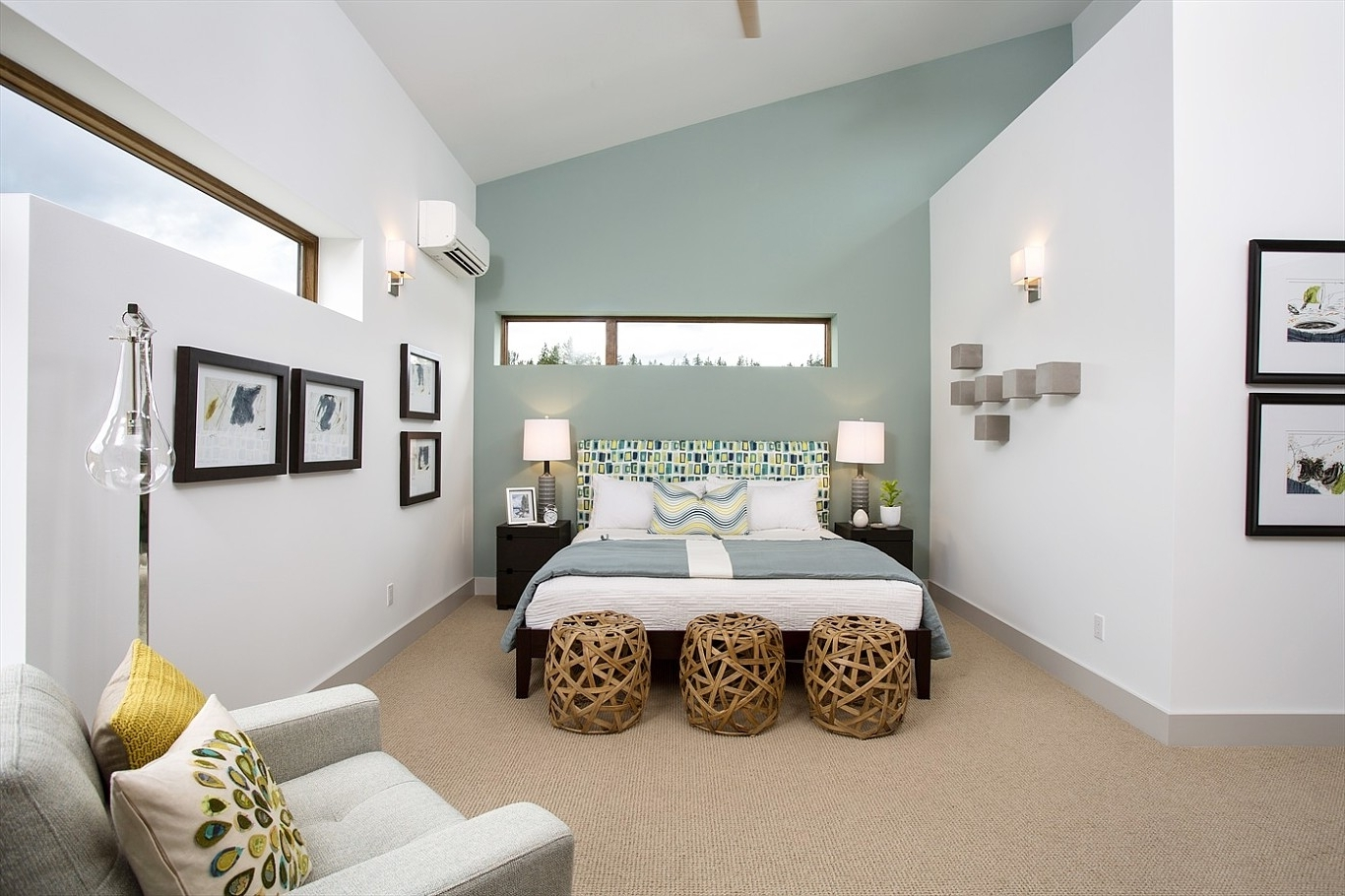 Trendy Accent Wall Paint Pattern Ideas Houzz Bedroom Accent Wall Blue And In Gray Wall Accents (Gallery 14 of 15)