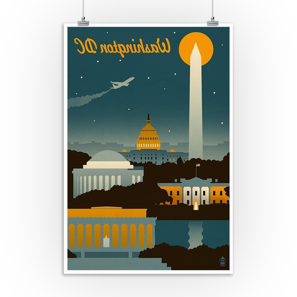Trendy Amazon: Washington, Dc – Retro Skyline (12x18 Art Print, Wall In Washington Dc Framed Art Prints (View 6 of 15)