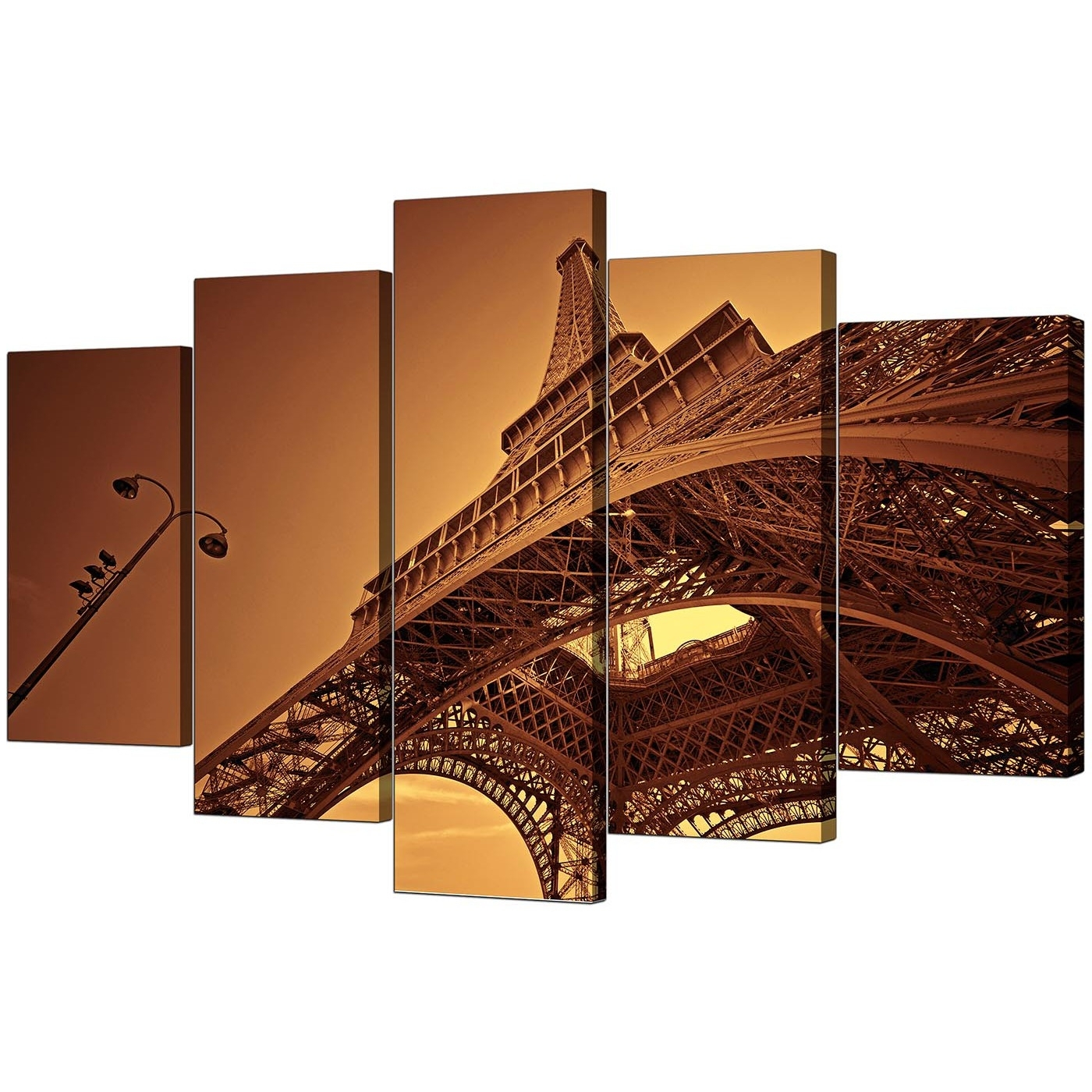 Trendy Canvas Wall Art Of Paris Pertaining To Extra Large Eiffel Tower Paris Canvas Art 5 Piece In Brown (Gallery 14 of 15)