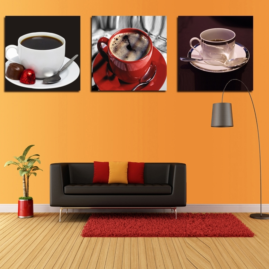 Trendy Coffee Canvas Wall Art With Regard To New Arrival New Kitchen Coffee Wall Art Painting Home Decor Canvas (View 13 of 15)