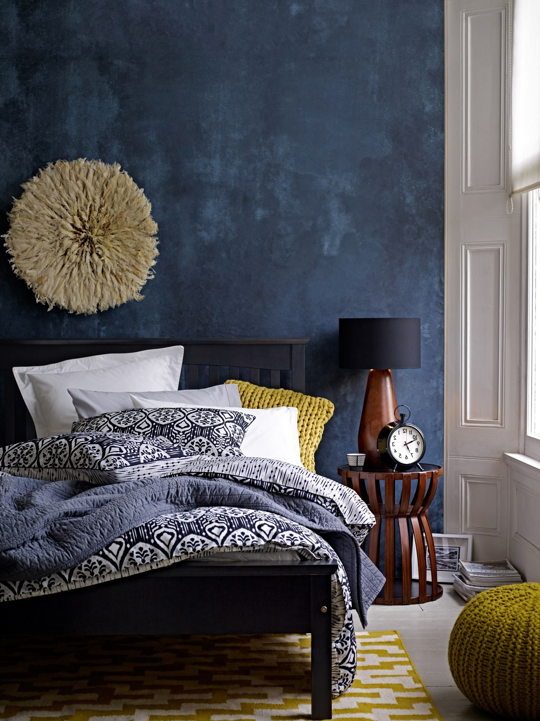 Trendy Deep Blue Accent Wall In Modern Eclectic Bedroom – Gorgeous Use Of For Blue Wall Accents (View 14 of 15)