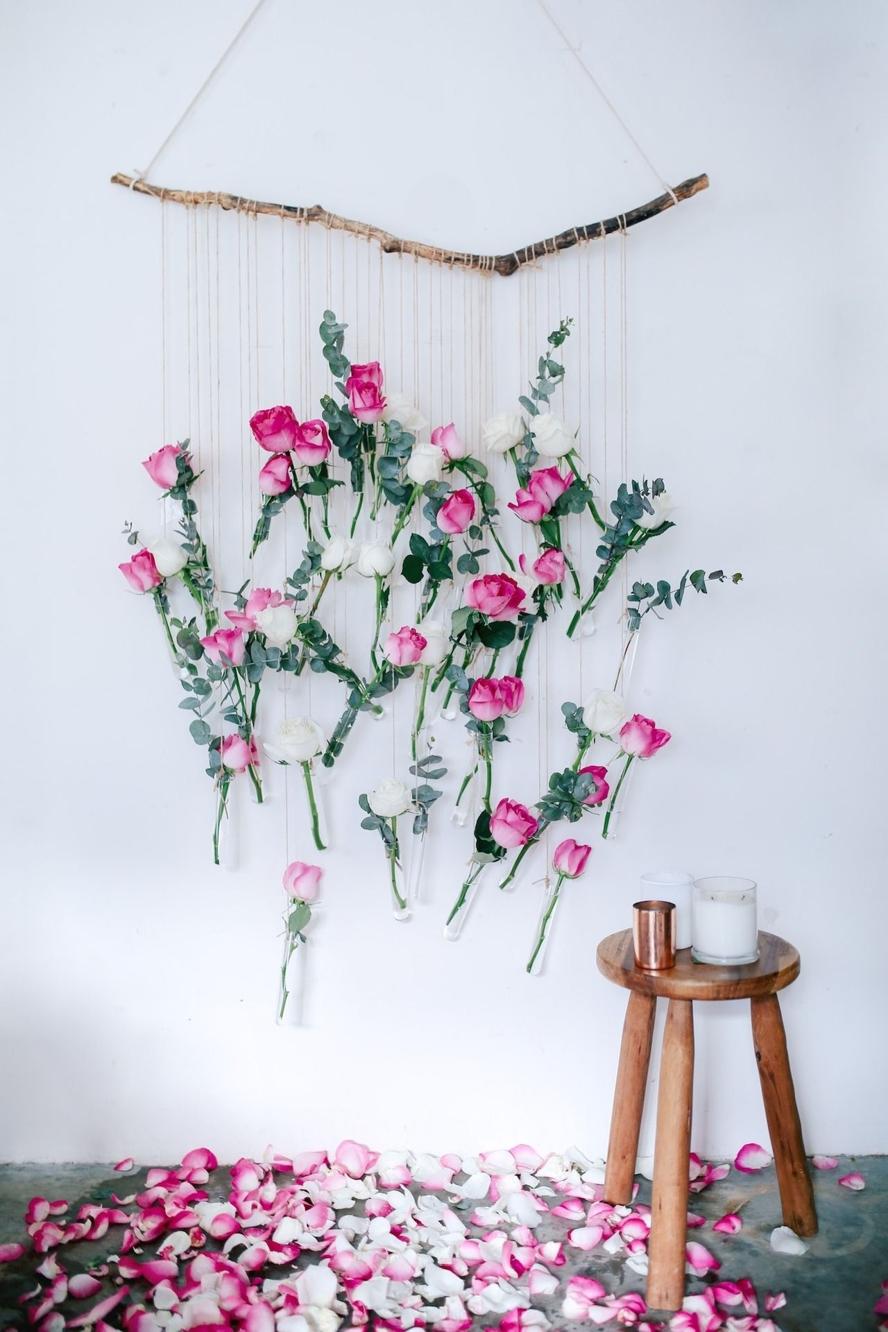 Trendy Diy Floral Vase Wall Hanging (Using Rose And Eucalyptus!) (View 14 of 15)