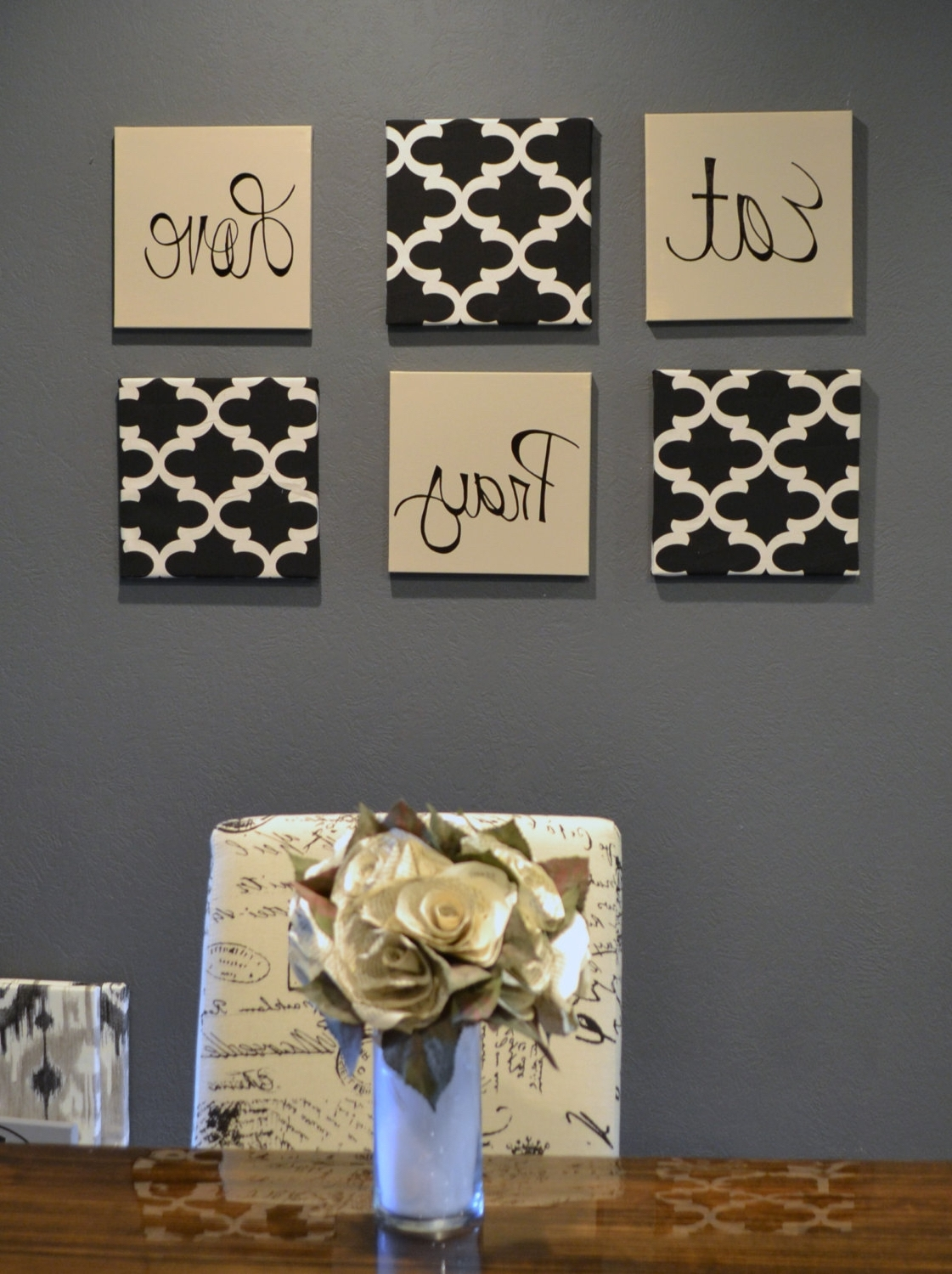 Trendy Eat Pray Love Wall Art Pack Of 6 Canvas Wall Hangings Hand Painted Inside Fabric Covered Squares Wall Art (View 11 of 15)