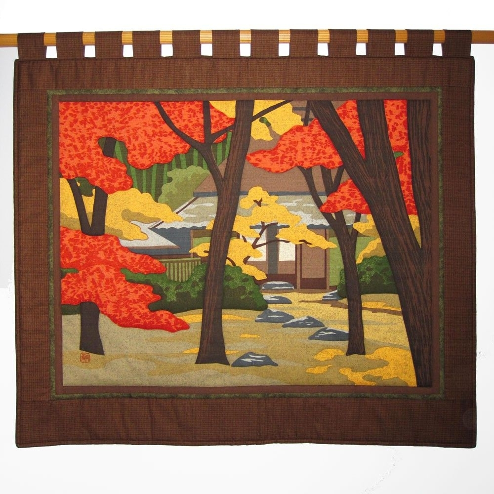 Trendy Gioji Temple Large Wall Hanging Quilt Japanese Asian Fabric Price Inside Asian Fabric Wall Art (Gallery 1 of 15)