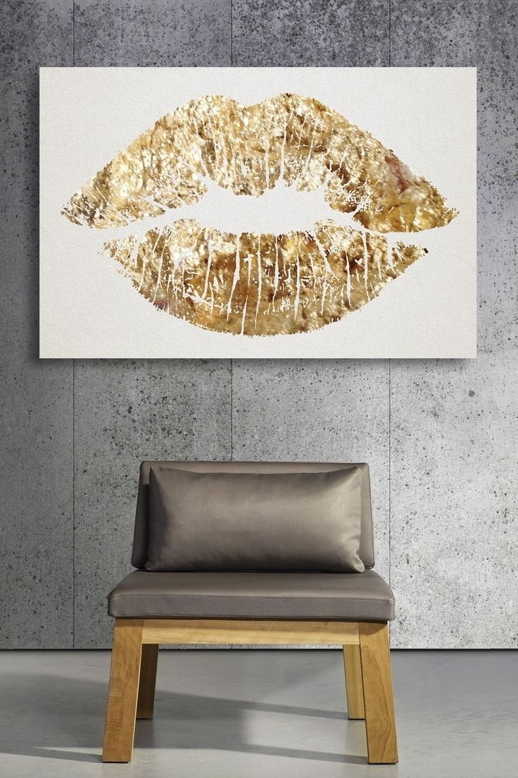 Trendy Gold Glitter Lips Canvas Art. (View 15 of 15)