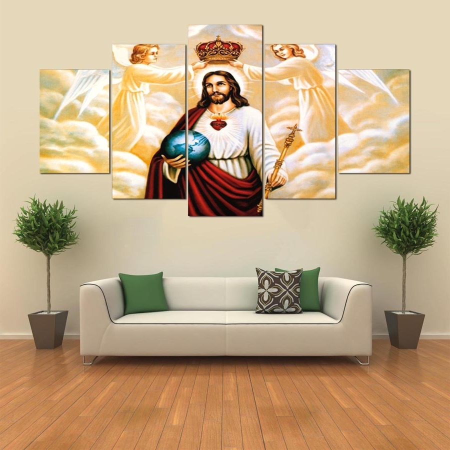Trendy Jesus Canvas Wall Art Inside Canvas Wall Art Modular Frame Picture Landscape 5 Panels Jesus (View 10 of 15)