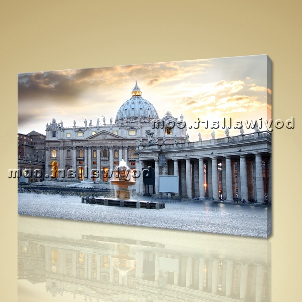 Trendy Large Basilica Rome Italy Cityscape Photography On Canvas Wall Art In Canvas Wall Art Of Rome (View 12 of 15)