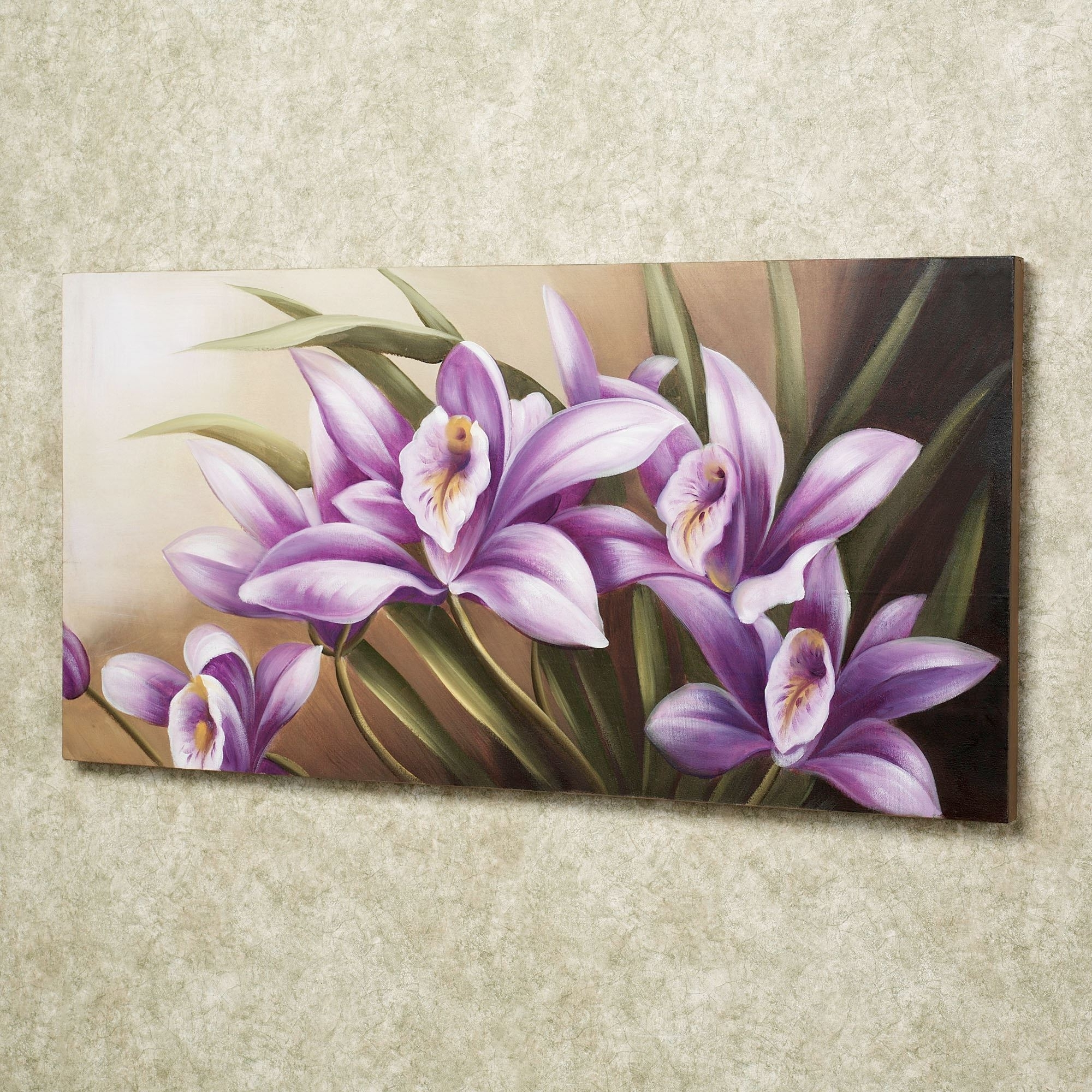 Trendy Lilac Canvas Wall Art For Wild Orchid Handpainted Floral Canvas Wall Art (View 12 of 15)