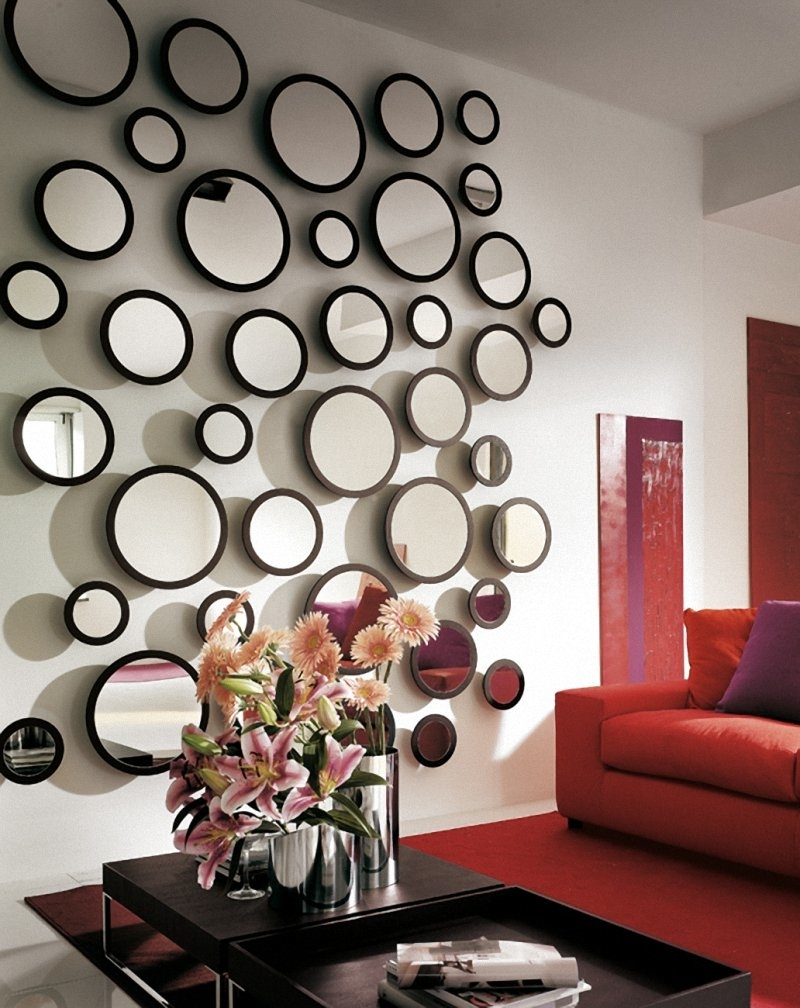 Trendy Living Room : Beautiful Mirror Wall Decor For Living Room With Within Fabric Circle Wall Art (View 12 of 15)