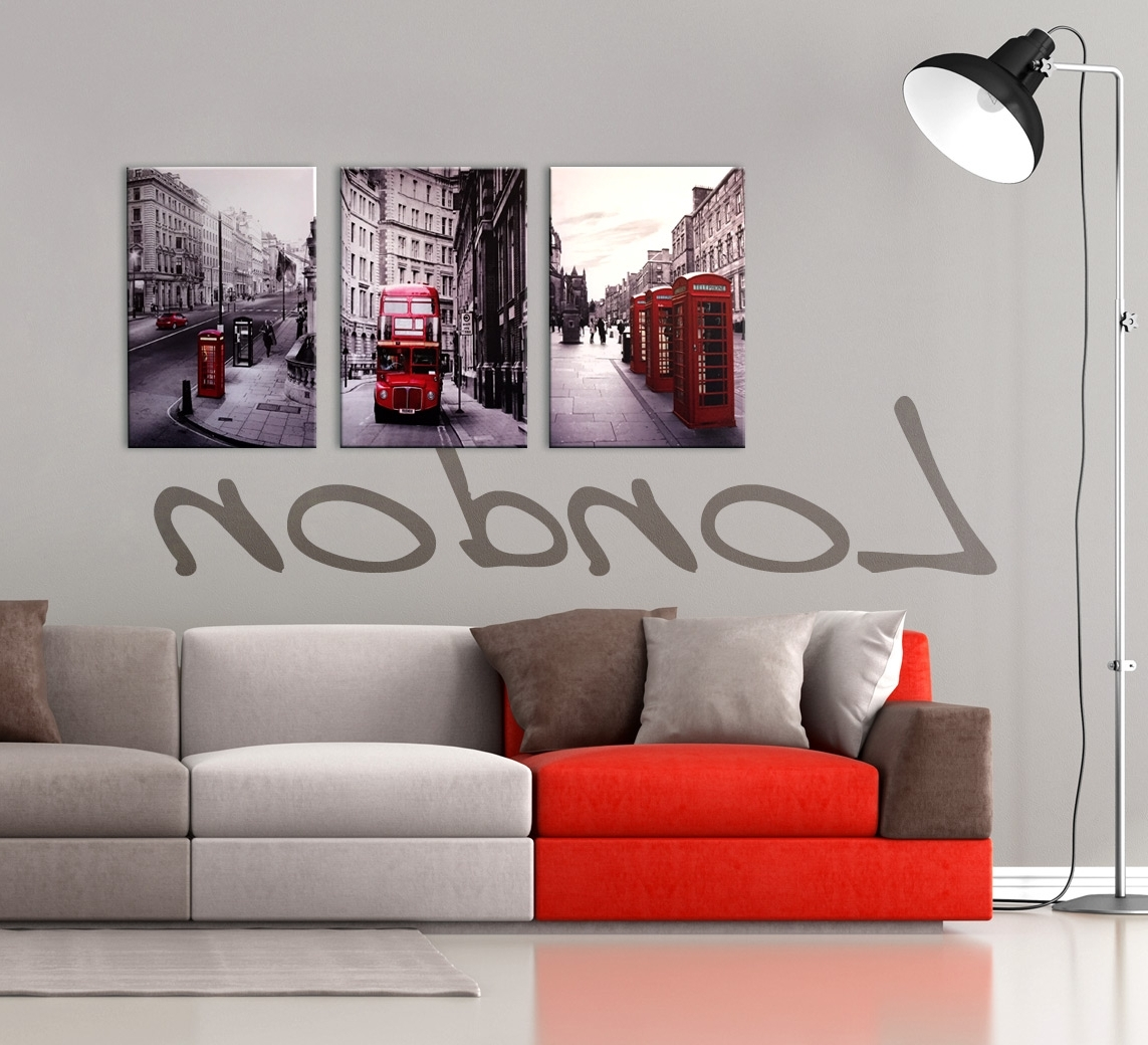Trendy London Cityscape 3 Piece Printed Wall Art Pertaining To Canvas Wall Art In Red (Gallery 13 of 15)