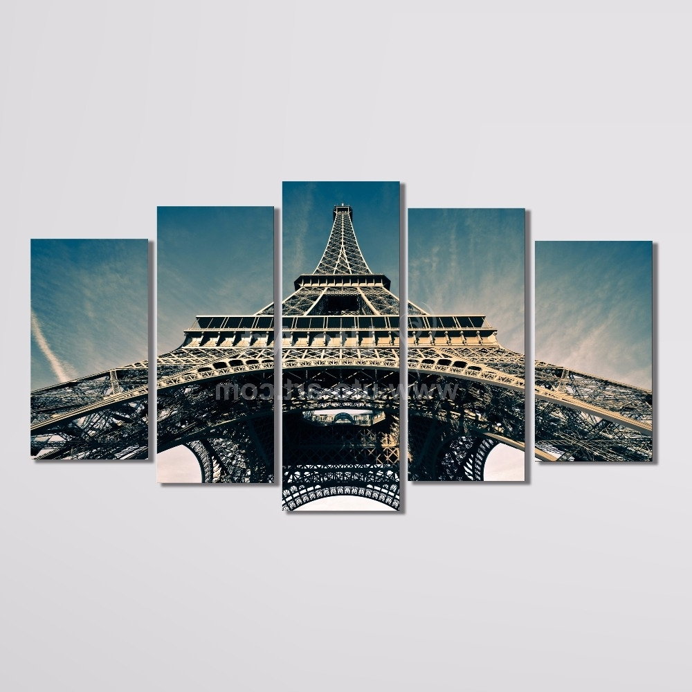 Trendy Modern 5 Piece Wall Art Painting Paris City Custom Canvas Prints For Eiffel Tower Canvas Wall Art (View 13 of 15)