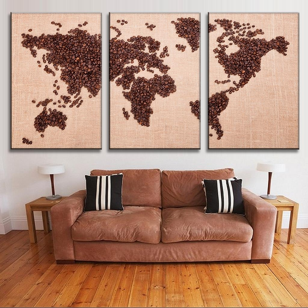 Trendy New 3 Pcs/set Creative Coffee Bean World Map Canvas Painting With Regard To Coffee Canvas Wall Art (Gallery 15 of 15)