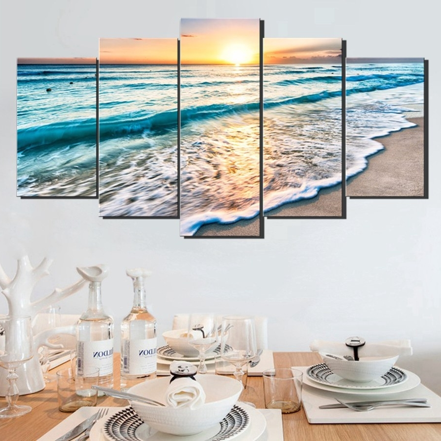 Trendy Ocean Canvas Wall Art In Wall Art Sunset Beach Canvas Prints Sea Wave 5Pcs Seascape (View 14 of 15)