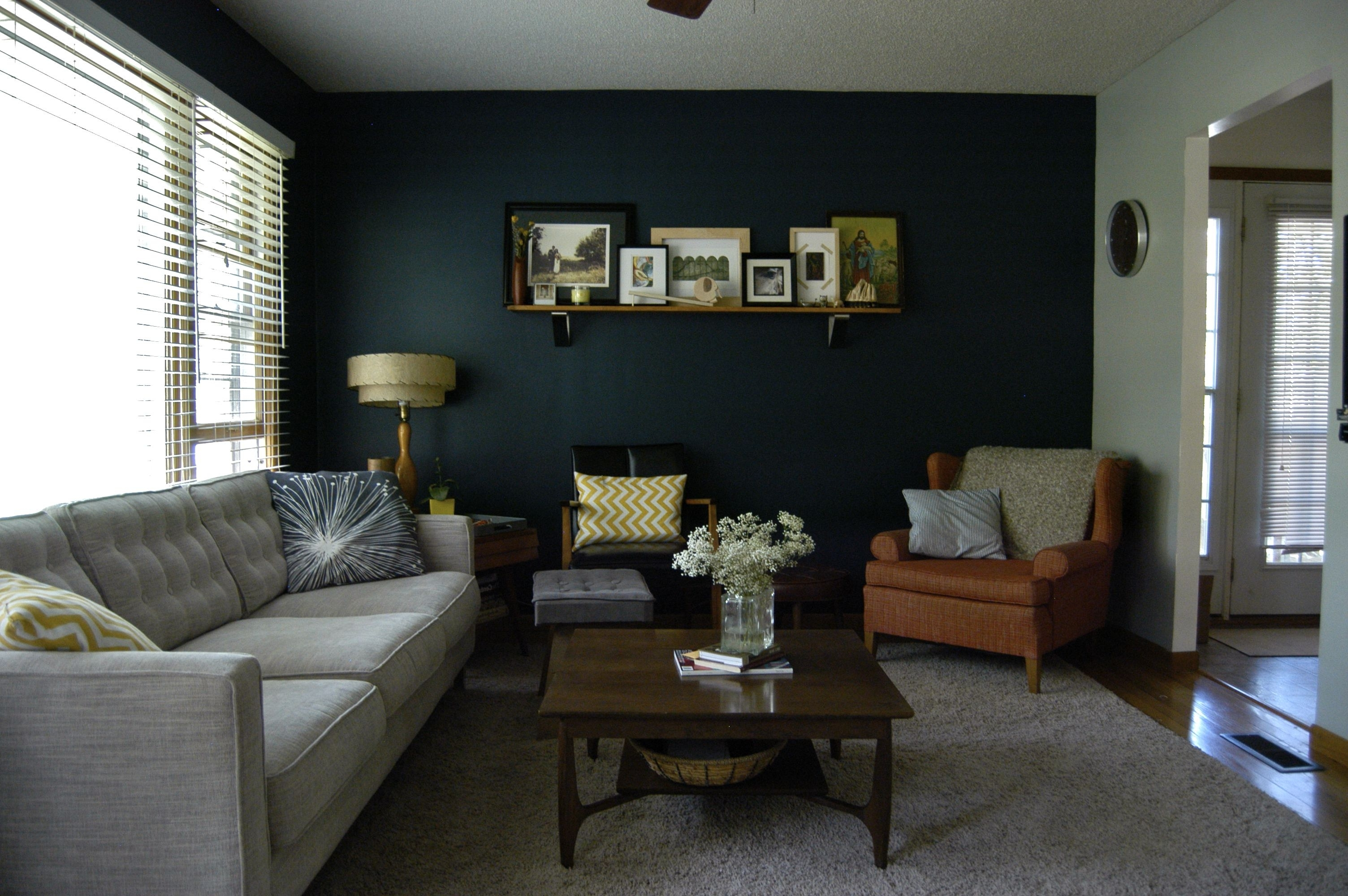 Trendy Our New Navy Accent Wall! The Other Walls Are A Medium Gray Within Gray Wall Accents (Gallery 7 of 15)