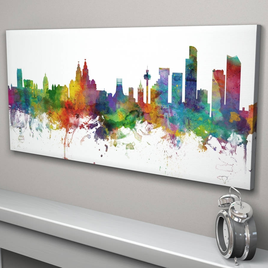 Trendy Panoramic Canvas Wall Art Regarding Liverpool England City Skylineartpause (View 14 of 15)