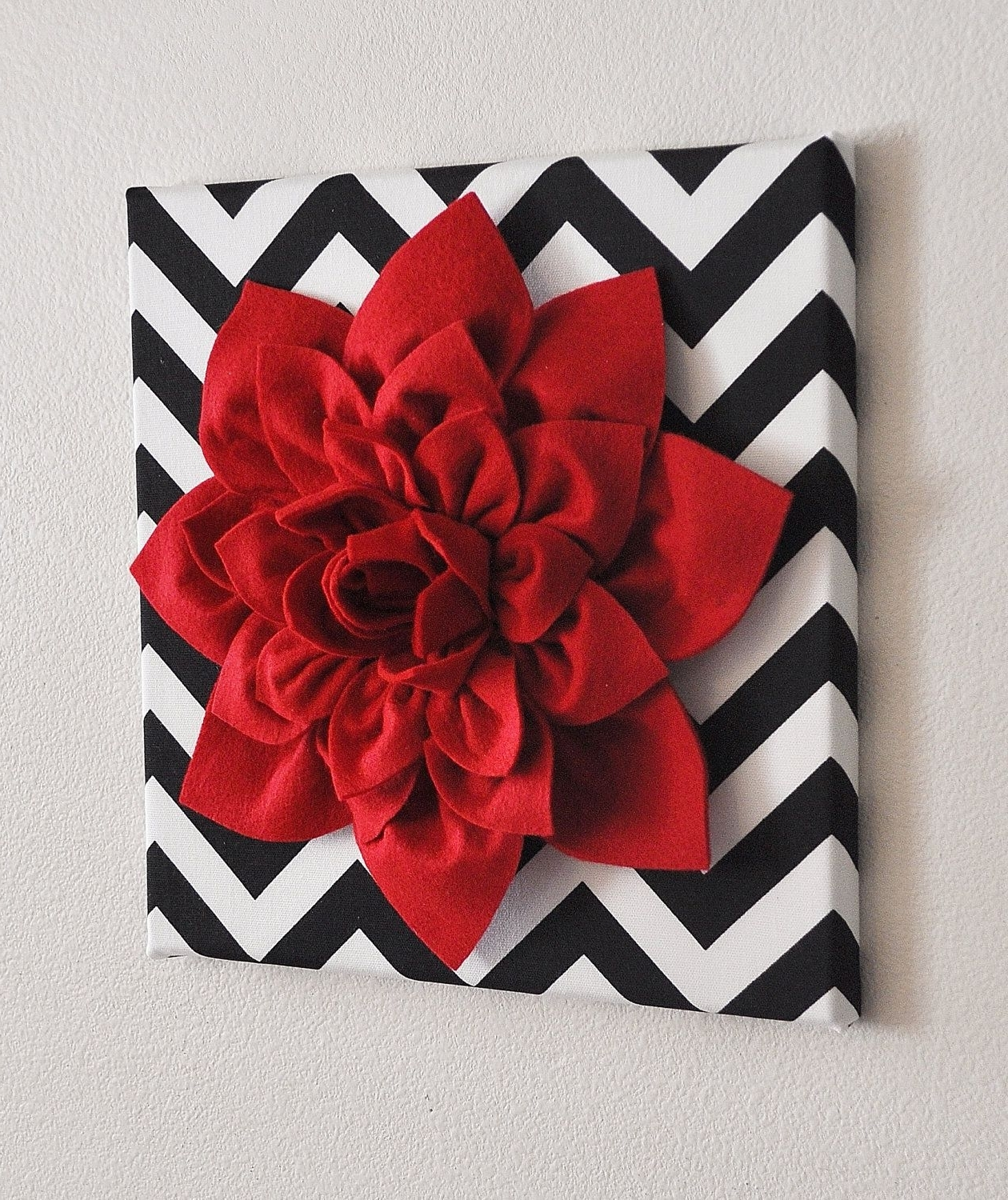 Trendy Red Wall Flower  Red Dahlia On Black And White Chevron 12 X12 In Red Fabric Wall Art (Gallery 9 of 15)