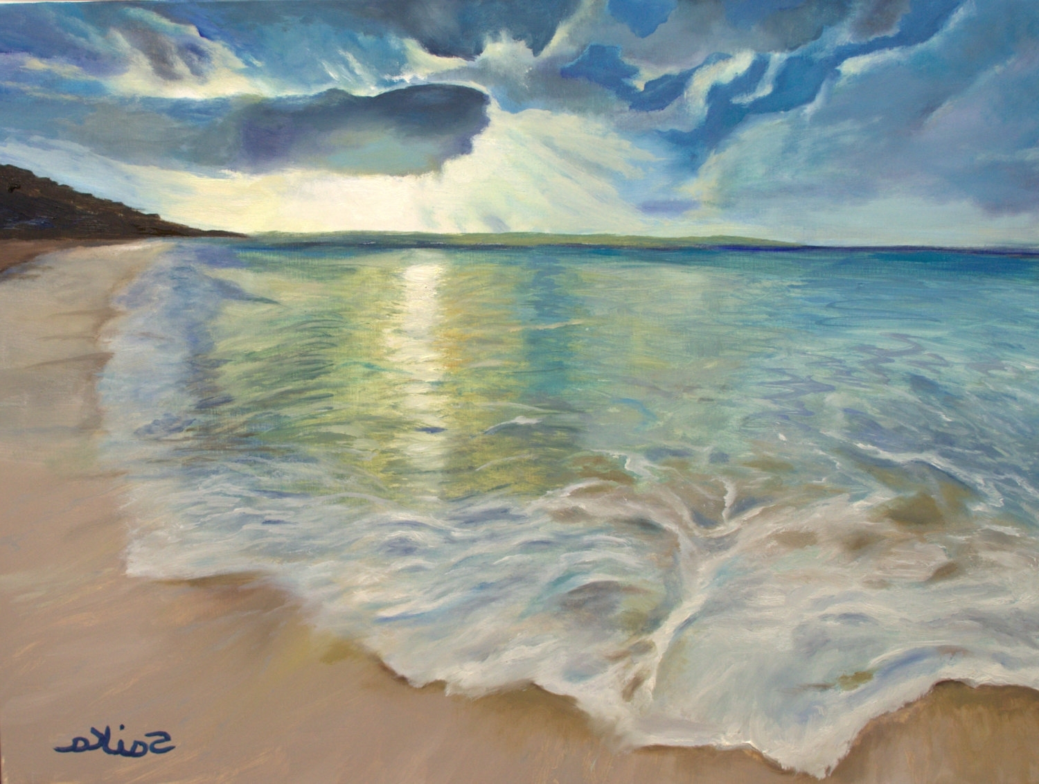 Trendy Summer Love, Oil Painting 18X24, Beach Scene,ocean, Wall Art, Home Within Canvas Wall Art Beach Scenes (View 10 of 15)